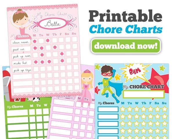 Tablas de tareas para niños (4 opciones)