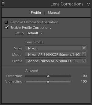 Perfiles de lentes de Adobe Lightroom